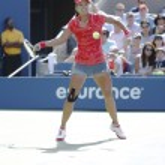 Постер, плакат: Grand Slam champion Na Li during quarterfinal match at US Open 2013 against Ekaterina Makarova at Billie Jean King National Tennis Center