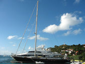Mega yachts in Gustavia Harbor at St Barts — Stock Photo
