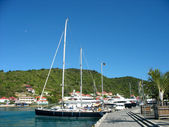 Mega yachts in Gustavia Harbor at St. Barts — Stock Photo
