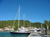 Mega yachts in Gustavia Harbor at St. Barts — Stock Photo