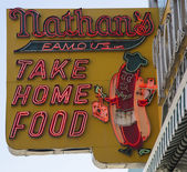 The Nathan s original restaurant sign — Stock Photo