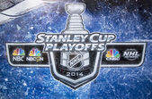 Stanley Cup Playoffs 2014 logo displayed at the NBC Experience Store window in midtown Manhattan — Stock Photo