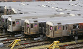 NYC subway cars in a depot — Stock Photo