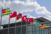 International Flags in the front of United Nations Headquarter in New York — Stock Photo