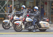 NYPD officers on motorcycles providing security in Manhattan — Stock Photo