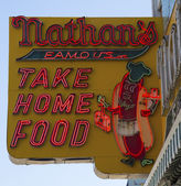 The Nathan's original restaurant sign — Stock Photo