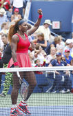 Grand Slam champion Serena Williams celebrates victory after fourth round match at US Open 2013 — Stockfoto