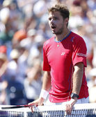 Professional tennis player Stanislas Wawrinka during semifinal match at US Open 2013 — Stock Photo
