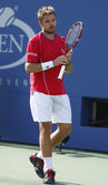 Professional tennis player Stanislas Wawrinka during semifinal match at US Open 2013 — Стоковое фото