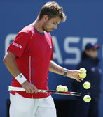 Professional tennis player Stanislas Wawrinka during semifinal match at US Open 2013 — 图库照片