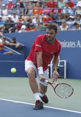 Professional tennis player Stanislas Wawrinka during third round match at US Open 2013 — Stock Photo