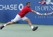 Professional tennis player Stanislas Wawrinka during third round match at US Open 2013 — Stok fotoğraf