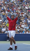 Professional tennis player Stanislas Wawrinka celebrates victory after third round match at US Open 2013 — Photo