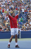 Professional tennis player Stanislas Wawrinka celebrates victory after third round match at US Open 2013 — Stock fotografie