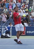 Professional tennis player Stanislas Wawrinka celebrates victory after third round match at US Open 2013 — Stok fotoğraf