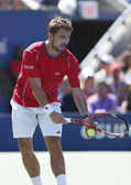 Professional tennis player Stanislas Wawrinka during semifinal match at US Open 2013 — Foto Stock