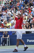 Professional tennis player Stanislas Wawrinka celebrates victory after third round match at US Open 2013 — Stockfoto