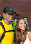Grand Slam champions Bob Bryan with tennis fan after match at US Open 2013 — Stok fotoğraf