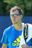 Professional tennis player Jerzy Janowicz from Poland after practice for US Open 2013 — 图库照片