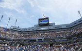 Arthur Ashe Stadium scoreboard at Billie Jean King National Tennis Center — Stock Photo