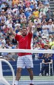 Professional tennis player Stanislas Wawrinka celebrates victory after third round match at US Open 2013 — Foto Stock
