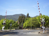 Napa Valley Railroad wine train level crossing in Yountville — Stock Photo