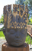 Kings Head statue by artist Clayton Thiel at public art walk in town of Yountville — Stock Photo