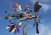 Phoenix movable sculpture by artist Andrew Carson at public art walk in town of Yountville — Stock Photo
