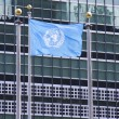 United Nations Flag in the front of UN Headquarter in New York — Stock Photo #45560143