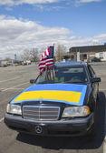 Ukrayna destekçisi arabayı brooklyn'de — Stok fotoğraf
