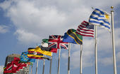 International Flags in the front of United Nations Headquarter in New York — Foto Stock