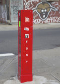 FDNY Emergency Reporting System box to notify the police and fire department in Brooklyn, New York — Stock Photo