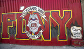 Mural in the memory of fallen FDNY firefighter Lt. Richard Nappi at East Williamsburg in Brooklyn — Stock Photo