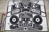 Iconic Super Duper Sound System mural by Joshua Abram Howard at the India Street Mural Project in Brooklyn — Stock Photo