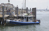 NYPD boat providing security at Sheepshead Bay in Brooklyn — Стоковое фото