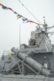Harpoon cruise missile launchers on the deck of US guided missile destroyer USS Cole during Fleet Week 2014 — Stock Photo