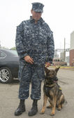 Unidentified navy with K-9 dog providing security during Fleet Week 2014 — Stock Photo
