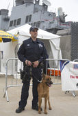 NYPD counter terrorism officer with Belgian shepherd providing security during Fleet Week 2014 — Stock Photo