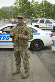 Unidentified marine providing security during Fleet Week 2014 — Stock Photo