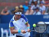 Professional tennis player David Ferrer during third round match at US Open 2013 against Mikhail Kukushkin — ストック写真
