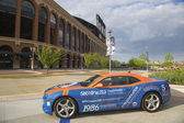 Chevrolet Camaro Mets Special Edition car in the front of the Citi Field, home of major league baseball team the New York Mets — Stock Photo