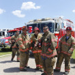 Firefighters from Freeport Truck 1 Technical Rescue company standing in the front of fire truck — Stock Photo