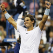 Twelve times Grand Slam champion Rafael Nadal celebrates victory after semifinal match at US Open 2013 — Stock Photo