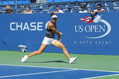 Professional tennis player Andrea Petkovic from Germany practices for US Open 2013 — 图库照片