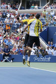 Grand Slam champions Mike and Bob Bryan celebrating victory after third round doubles match at US Open 2013 — Stock Photo