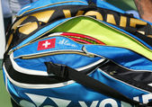 Professional tennis player Stanislas Wawrinka customized Yonex tennis bag at US Open 2013 — Stock Photo