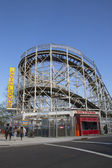 Historical landmark Cyclone roller coaster in the Coney Island section of Brooklyn — Stock Photo