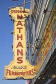 The Nathan's original restaurant sign — Stock Photo