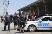 NYPD officers providing security at Coney Island Boardwalk  in Brooklyn — Stock Photo