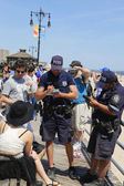 NYPD officers writing ticket for alcohol-related offense at Coney Island Boardwalk  in Brooklyn — Stock Photo
